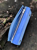 Кожаный кошелёк ручной работы небесного цвета