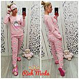 Женская пижама с начесом и повязкой для сна, фото 2
