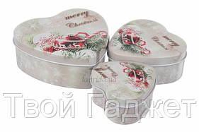 ОПТ/Розница Коробка жестяная новогодняя в виде сердечка (Цена за комплект 3 шт)