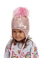 Шапка ушанка для девочки украшена бусинами Nikola, фото 1