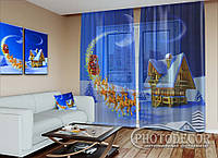 """Новогодний ФотоТюль """"Дед Мороз на санях"""" (2,5м*3,0м, на длину карниза 2,0м)"""