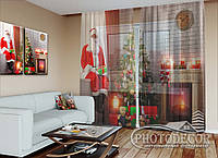 """Новогодний ФотоТюль """"Дед мороз у камина 2"""" (2,5м*3,75м, на длину карниза 2,5м)"""
