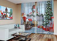 """Новогодний ФотоТюль """"Дед мороз у камина"""" (2,5м*2,0м, карниз 1,5м)"""