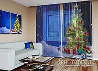 """Новогодний ФотоТюль """" Елка в снегу с подарками"""" (2,5м*4,5м, на длину карниза 3,0м)"""