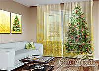 """Новорічний ФотоТюль """"Ялинка на золотому тлі""""(2,5 м*3,0 м, на довжину карниза 2,0 м)"""