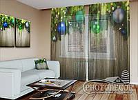 """Новорічний ФотоТюль """"Ялинкові ламбрекени з іграшками"""" (2,5 м*3,75 м на довжину карниза 2,5 м)"""