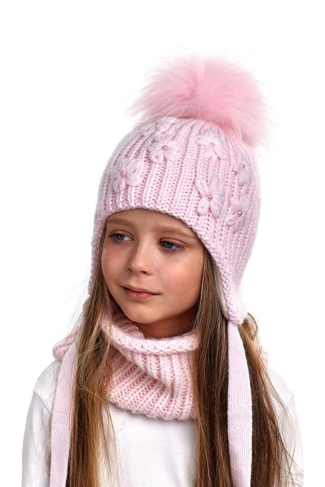 Комплект для девочки шапка и снуд Nikola