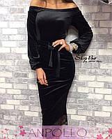 Женское бархатное платье (3 цвета), фото 1