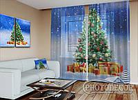 """Новогодний ФотоТюль """"Новогодняя елка и подарки"""""""