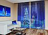 """Новорічний ФотоТюль """"Сніговик і Ялинка"""" (2,5 м*3,75 м на довжину карниза 2,5 м)"""