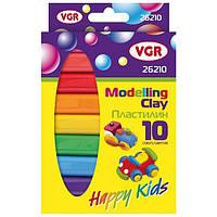 Пластилин VGR круглый 10 цветов, 170 грамм