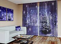 """Новорічний ФотоТюль """"Снігопад в нічному лісі"""" (2,5 м*3,0 м, на довжину карниза 2,0 м)"""