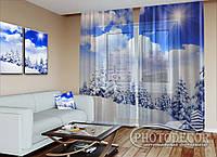 """Новорічний ФотоТюль """"Сонце в зимовому лісі"""" (2,5 м*6,0 м на довжину карниза 4,0 м)"""