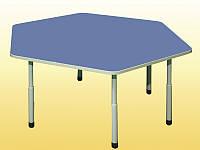 Стол детский шестигранный регулируемый 1180х1040х460-580 мм.