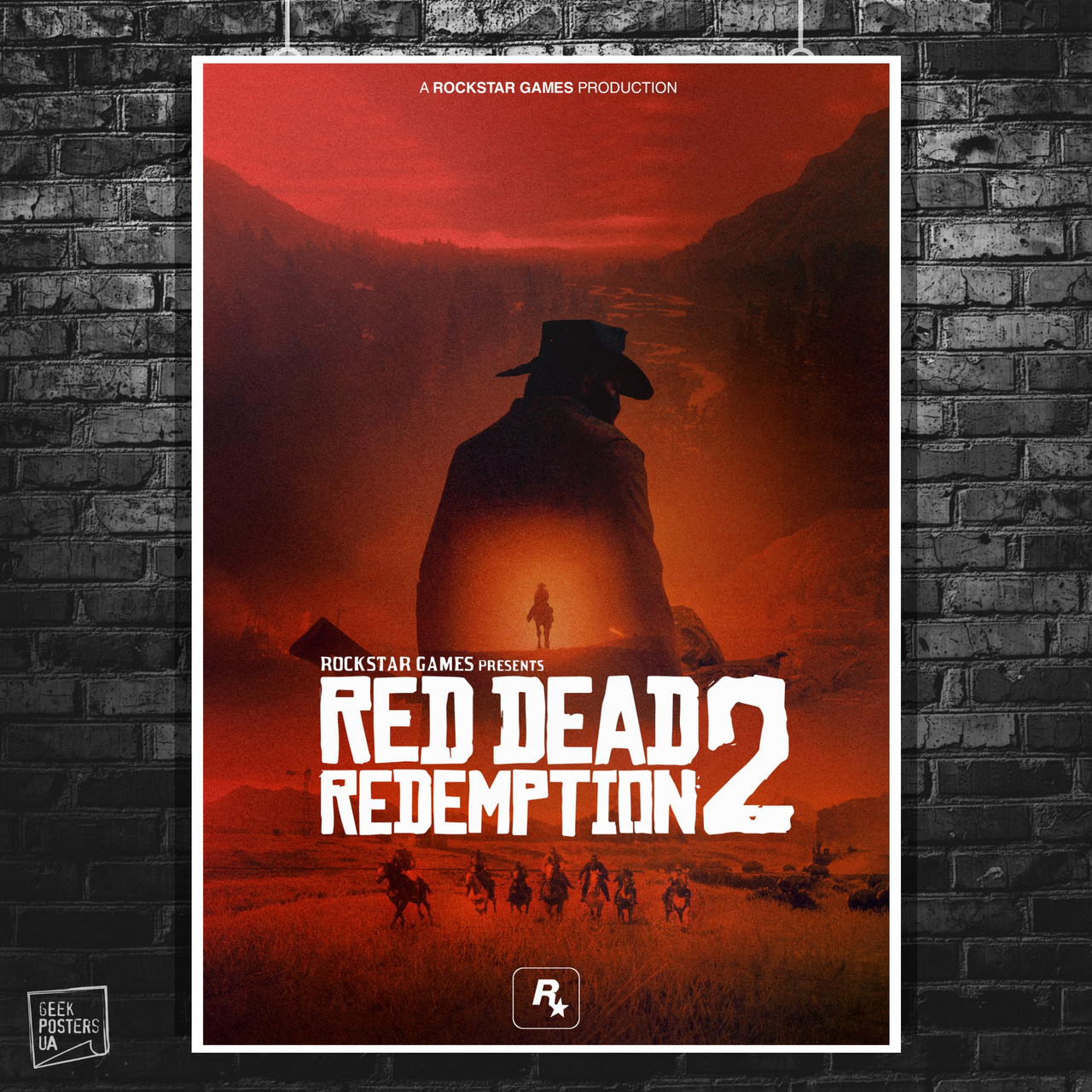 Постер Red Dead Redemption 2, RDR 2. Размер 60x42см (A2). Глянцевая бумага