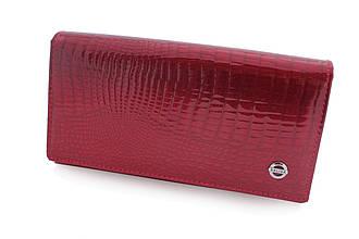 Кожаный женский кошелек бордовый лакированный