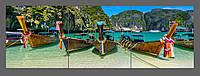 Модульная картина на стекле Лодки. Океан. Паттая 120*40 см