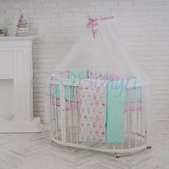 """Набор в овальную кроватку Baby Design """"Премиум Пирожные"""" для новорожденной девочки ТМ Маленькая Соня"""