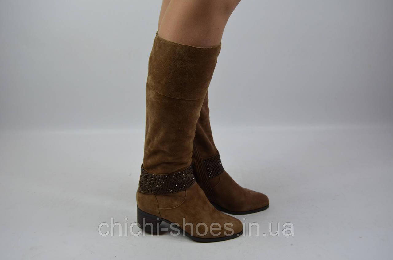 Сапоги женские зимние Blizzarini 32095-166 коричневые замша каблук