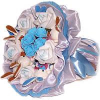Букет из мягких игрушек Зайки 7 в голубом