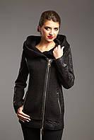 Пальто с капюшоном из трикотажа