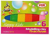 Пластилин VGR плоский 6 цветов, 100 грамм