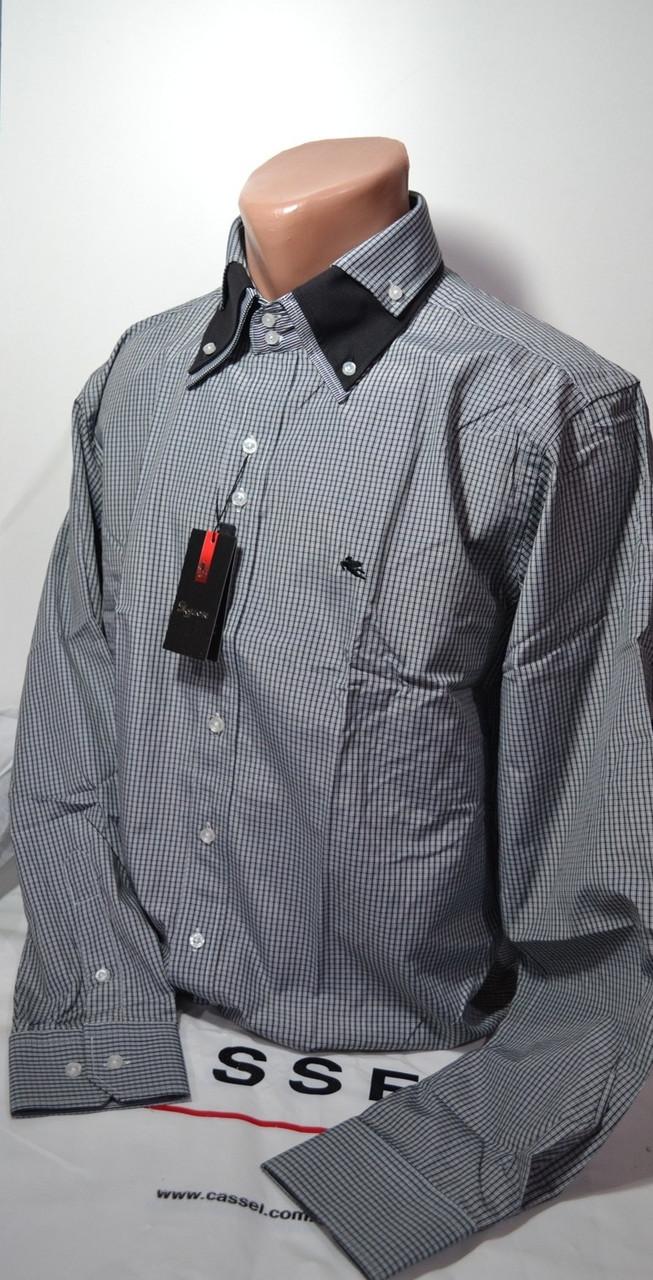 Серая приталенная рубашка в клетку SIGMAN (размер S, M, L, XL, XXL)