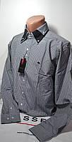 Серая приталенная рубашка в клетку SIGMAN (размер S, M, L, XL, XXL), фото 1