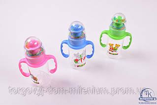 Бутылочка для кормления детская с погремушкой 150мл. 1115