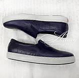 Мужские синие кожаные слипоны, фото 3