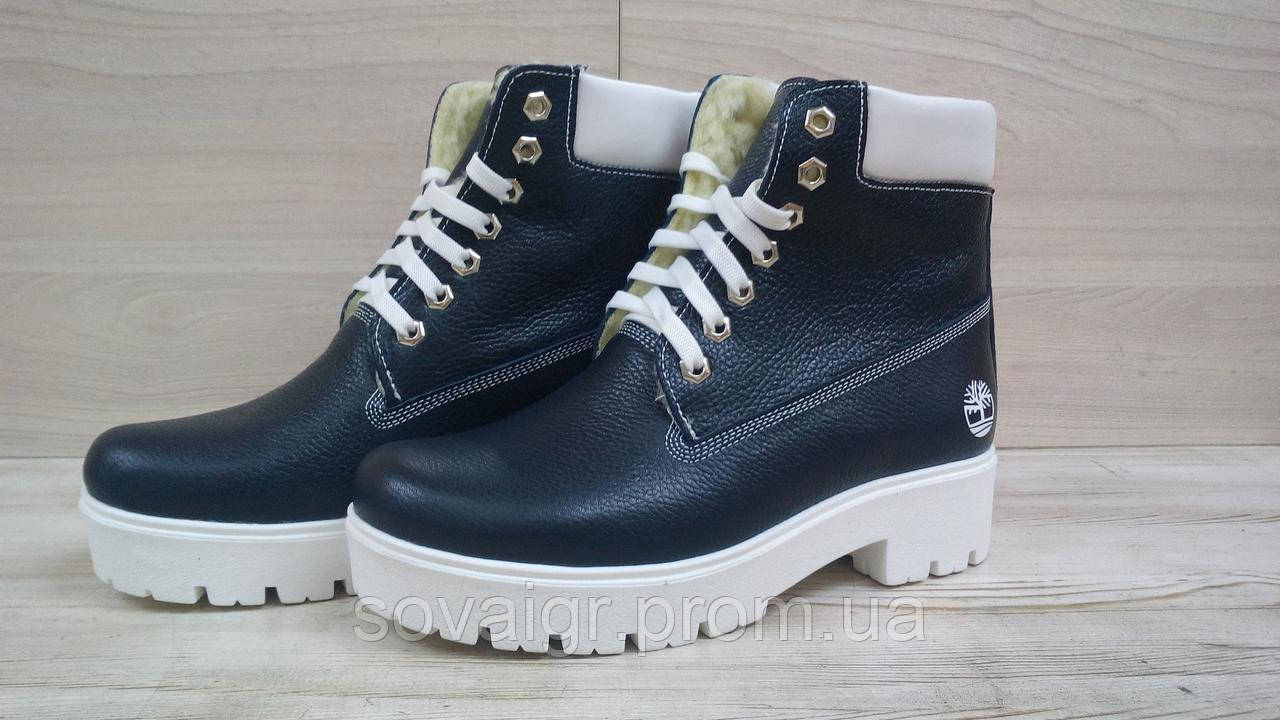 Зимние детские кожаные ботинки для девочки в стиле Timberland