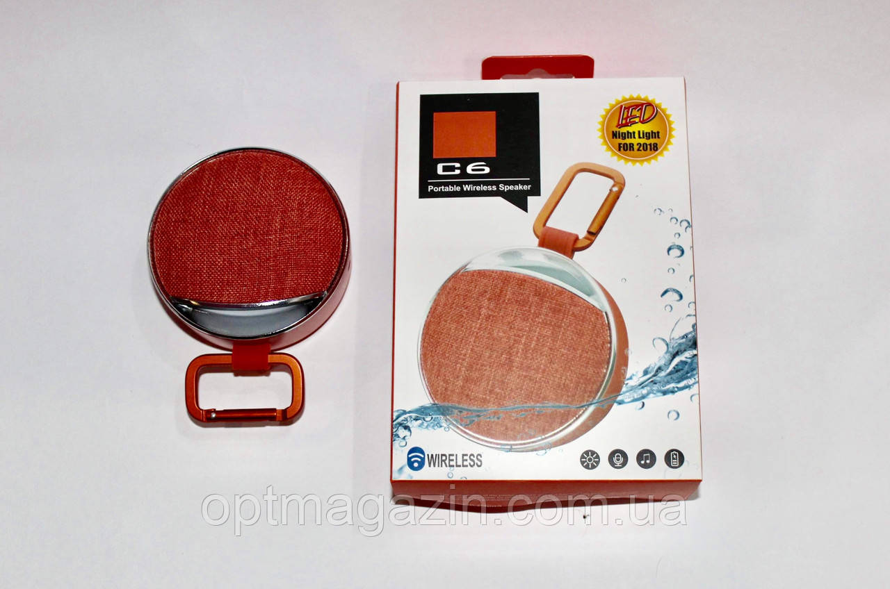 Портативна Колонка JBL C6 з SD, FM, Bluetooth, 1-динаміком, карабіном і ліхтариком