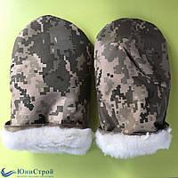Камуфляжні рукавиці з штучним хутром