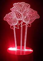 3d светильник ночник Букет роз (романтический подарок) только стекло
