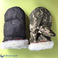 Комбіновані рукавиці з штучним хутром