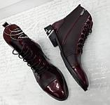 Женские ботинки из кожи на шнуровке цвета марсала, фото 2
