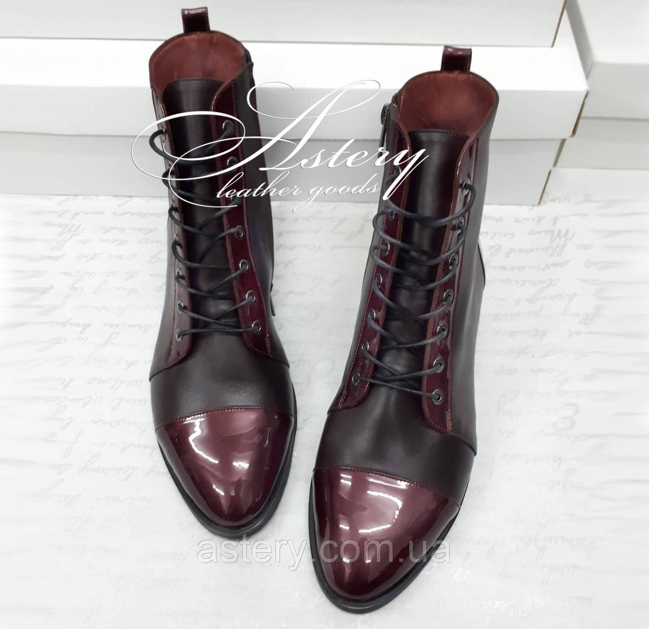 Женские ботинки из кожи на шнуровке цвета марсала