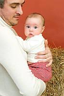 Штаны детские Hocosa из мериносовой шерсти красная полоска