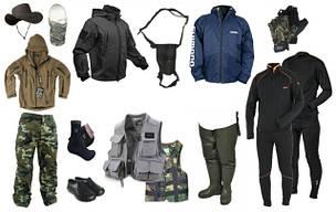 Одежда для рыбалки, обувь, шапки,носки.