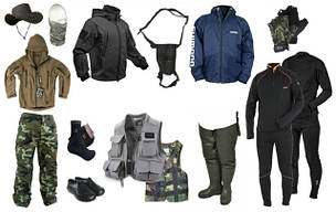 Одяг для риболовлі, взуття, шапки,шкарпетки.