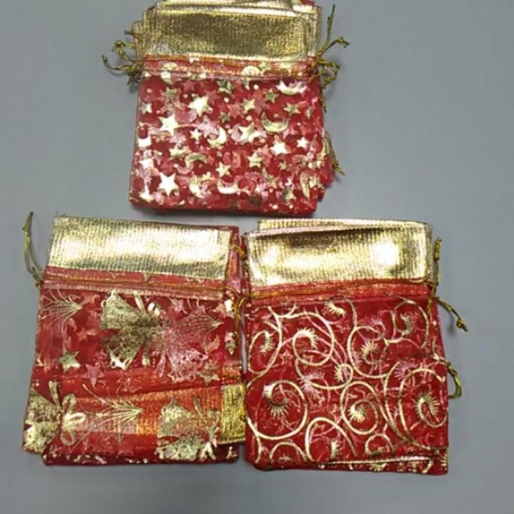 Подарочный мешочек из органзы с рисунком красный