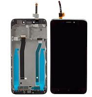 Дисплей (экран) для Xiaomi Redmi 4X/4X Pro + тачскрин, черный, с передней панелью