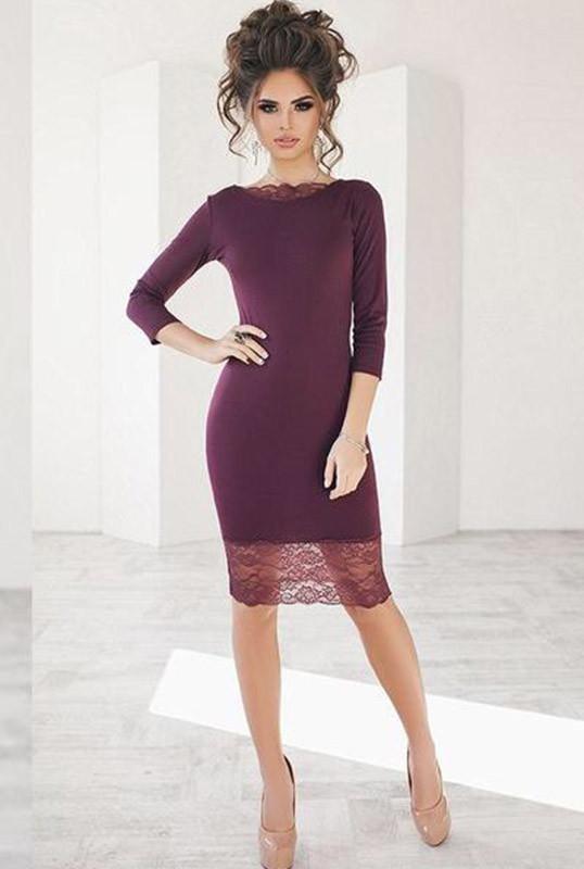 Бордовое коктейльное платье ЯСМИНА