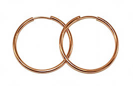 Серьги-кольца гладкие фирмы Xuping.Цвет: позолота с красным оттенком. Диаметр серьги: 3,5 см. Толщина: 2 мм.