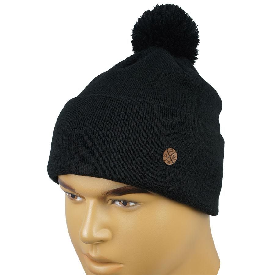67ee03aeac89 Черная мужская шапка Apex М:Таймс black с балабоном
