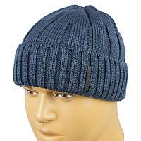 Мужская шапка с отворотом Apex RIB3 jeans синего цвета