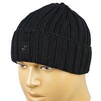 Вязаная мужская шапка Apex М:AS-Отворот black с отворотом