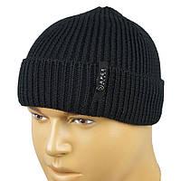 Мужская вязаная шапка с отворотом Apex RIB1 black
