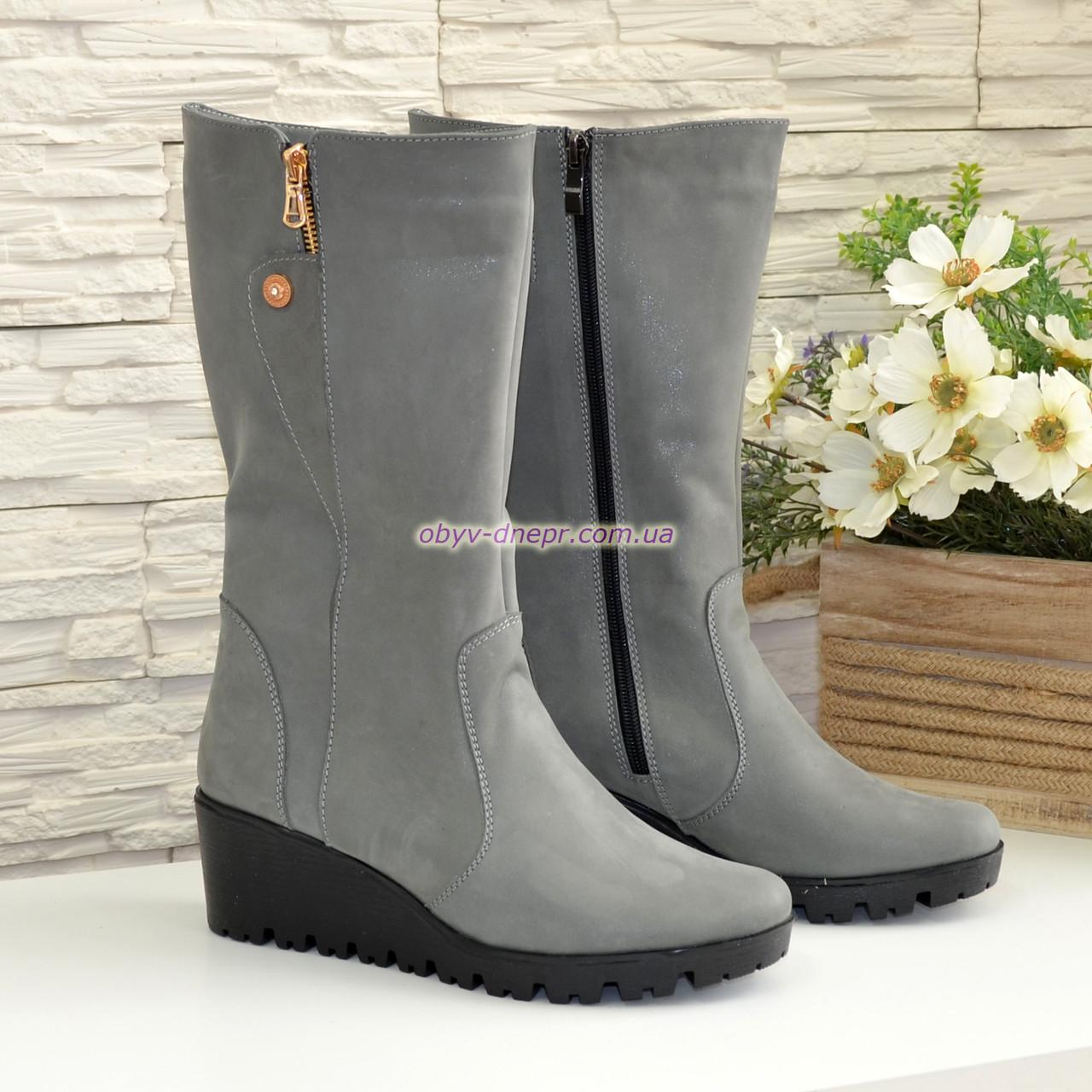 Зимние ботинки на невысокой платформе, натуральная серая кожа