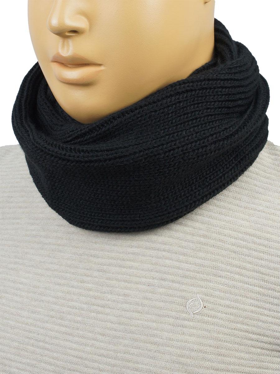 мужской вязаный шарф снуд Apex м51 Black в черном цвете для
